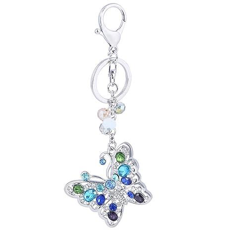 Amazon.com: Llavero con forma de mariposa y cristales de ...