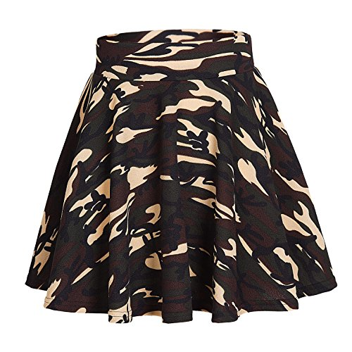 Women's Casual Stretchy Printed Flared Pleated Mini Skater Skirt (XL, (Bridal Mini Skirt)