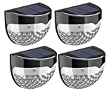 New Pack Of 4 Solar Powered 6 Bright LED Door Fence Wall Lights Outdoor Garden Shed Lighting- Weather-proof IP65 Protection Grade, Dust-Resistant, Splash-Resistant, Very Suitable For Outdoor Use.