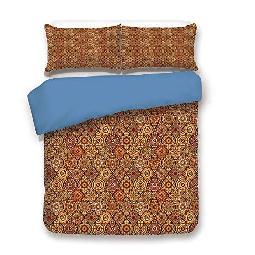 iPrint Duvet Cover Set,Blue Back,Moroccan,Vintage Hand Drawn Style Ottoman Figures Ancient Trellis Floral Motifs,Orange Yellow Brown,Decorative 3 Pcs Bedding Set by 2 Pillow Shams,Queen Size -