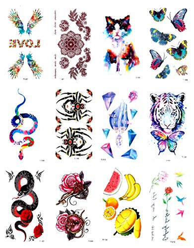 12 sheets banana snake tiger butterfly temporary tattoo wristband tattoo halloween costume face decals -