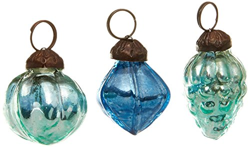Creative Co-Op Embossed Mercury Glass Ornaments in Organza Bag, 3 Styles - Blue ( Set of 36 ) - 1 Inch Antique Blue Glass