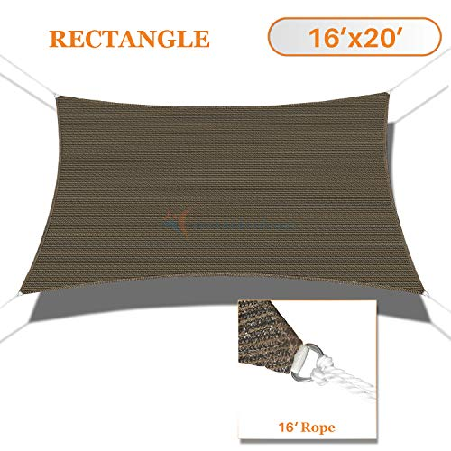 TANG Sunshades Depot 16'x20' Sun Shade Sail Rectangle Permeable Canopy Brown Coffee Custom Commercial Standard 180 GSM ()
