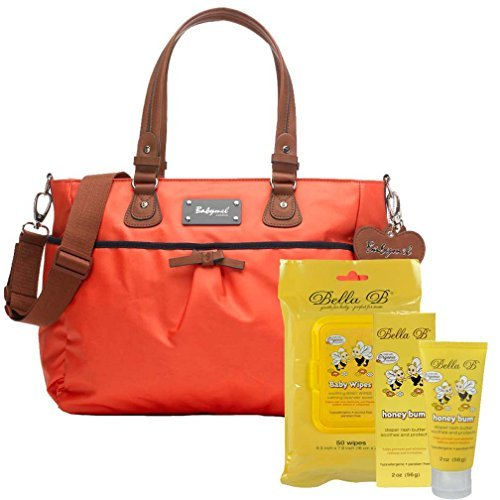 Bundle -3 Items:Babmel Lily Diaper Bag Coral & Bella B Honey Bum 2 oz & Bella B Babywipes 50 count