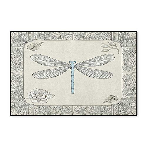 Dragonfly,Door Mat Non Slip,Hand Drawn Royal Ancient Style Rose Petals Leaves and Ornate Figures Design,Floor Mat for Tub,Black Pale Blue,Size,32