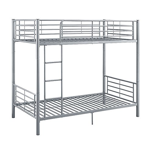 WE Furniture Twin over Silver Metal Bunk Bed