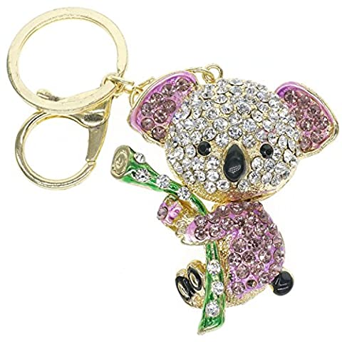 Cooplay Cute Lovely Koala Bear Animal Diamond Crystal Rhinestone Gold Crystal Keychain Charm Pendent Beautiful Accessories the Best Gift for Girl Women Purse Handbag Bag Keyrings (Purple)