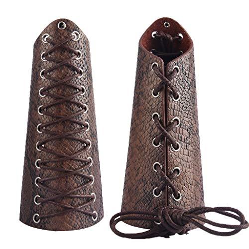 Jeilwiy Leather Armor Medieval Bracers Gauntlet Wristband Arm Armor Cuff Knight Cosplay -