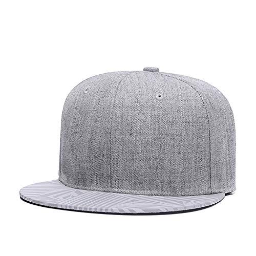 Unisex Snapback Adjustable Hat,Reflective Striped Flat Bill Brim Hats Cool Baseball Cap Grey