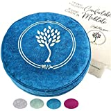 MV Joie Zafu Yoga Meditation Cushion Filled with Buckwheat Hulls & Charcoal Packs   Yoga Pillow in Soft Velvet/Suede; Embroidery Design, Free Lavender Pouch & Anti-dust Cotton Bag