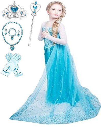 Ice Queen Glitter Princess Party Dress Costume (4-5, Blue)]()