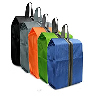 Zmart Set of 5 Portable Travel Shoe Bags with Zipper Waterproof Multicolor Storage Bag for Woman Men