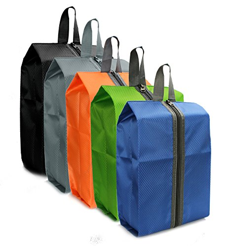 Zmart 5 Pack Portable Nylon Travel Shoe Bags with Zipper Closure Waterproof Shoe Storage Organizer Packing Cubes for Women Men