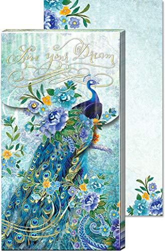 Punch Studio 40846, Live Dream, Pagoda Peacock, Large Pocket Note Pad, 75 Printed Sheets
