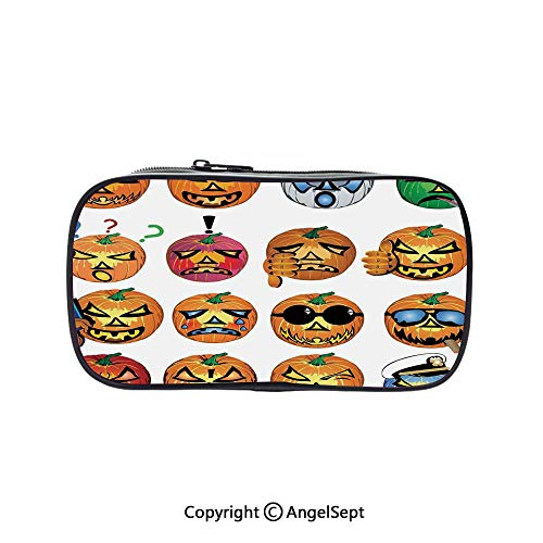 Cute Pencil Case - High Capacity,Carved Pumpkin with Emoji Faces Halloween Humor Hipster Monsters Art Orange 5.1inches,Multifunction Cosmetic Makeup Bag,Perfect Holder for Pencils and Pens ()