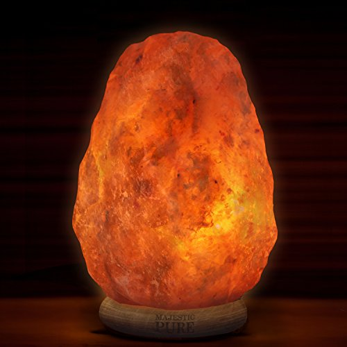Majestic Pure Himalayan Salt Lamp - Natural Pink Salt Rock Lamp, Hand Carved, Wooden Base, Brightness Dimmer, 3 Bulbs, UL-Listed Cord and Gift Box, 8-11 lbs by Majestic Pure (Image #5)