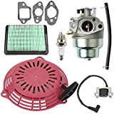 Savior GCV160 Carburetor & Air Filter Kit with Recoil Pull Starter Ignition Coil for Honda GCV160A Lawn Mowner GCV160LA GCV160LE GCV160A0 GCV160LA0