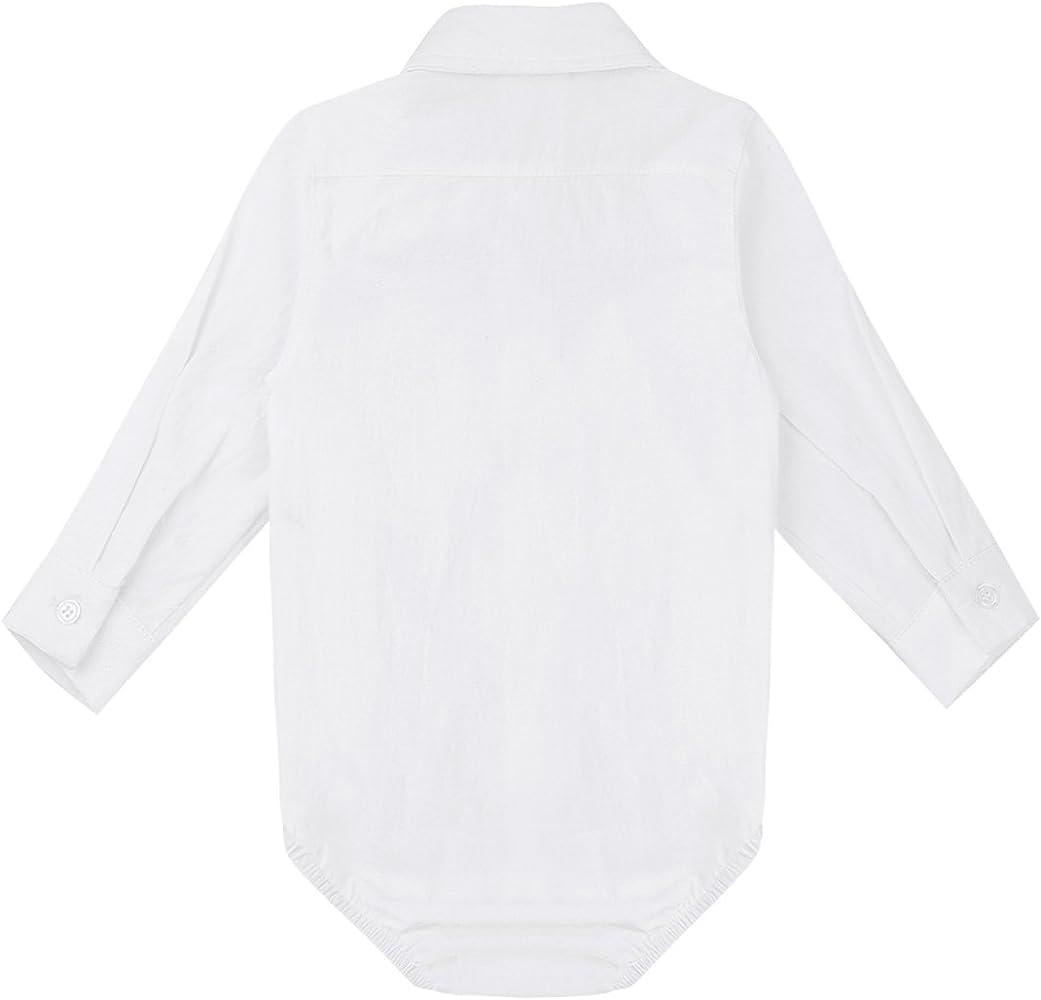 inlzdz Body para niños 3-24 Meses Mono Blusa Manga Larga Estilo Abotonado Camisa Blanca de Algodón para Bautizo Fiesta Ceremonia Blanco 3 Meses: Amazon.es: Ropa y accesorios