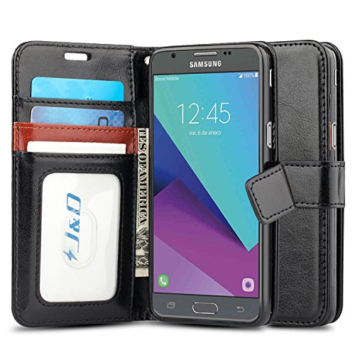 Eclipse Wallet (Galaxy J3 Emerge Case, J&D [Wallet Stand] [Slim Fit] Heavy Duty Protective Shock Resistant Flip Cover Wallet Case for Samsung Galaxy J3 Emerge/J3 Prime/ J3 2017/J3 Eclipse/Sol 2/Amp Prime 2 - Black)