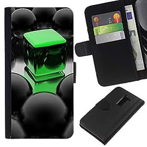 KLONGSHOP // Tirón de la caja Cartera de cuero con ranuras para tarjetas - Abstract Green Cube - LG G2 D800 //