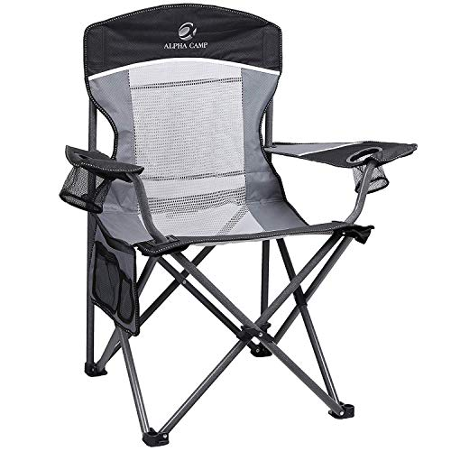 ALPHA CAMP Oversized Mesh Back Camping Folding Chair Heavy Duty Support 350 LBS Collapsible Steel Frame Quad Chair Padded Arm Chair with Cup Holder Portable for Outdoor (Black/Grey)