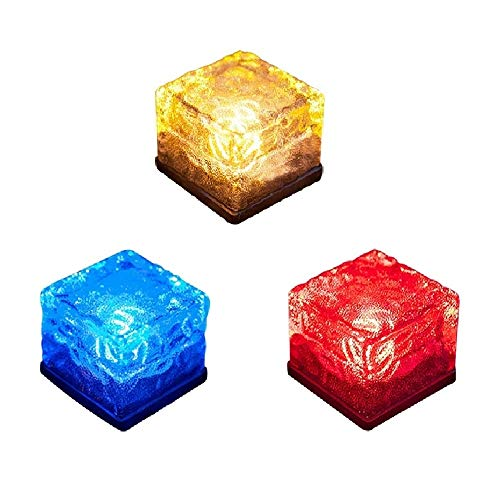 Lighten Glimmer Solar Path Ice Cube Lights Waterproof Color Changing LED Frosted Glass Brick Rock Lamp In-groud Buried Lights for Path Yard Garden Pack of 3