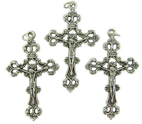 - CB Lot of 3 Catholic Keepsake Gift or Rosary Part Silver Tone Tone Metal 1 3/4-inch Antique Style Cross Crucifix Pendant Charm