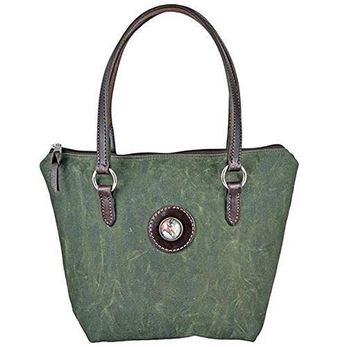 Equestrian Bay Horse Head Rosette Olive Green Waxed Cotton Bag Brunch HandBag (Olive - Bags Ray Rebecca