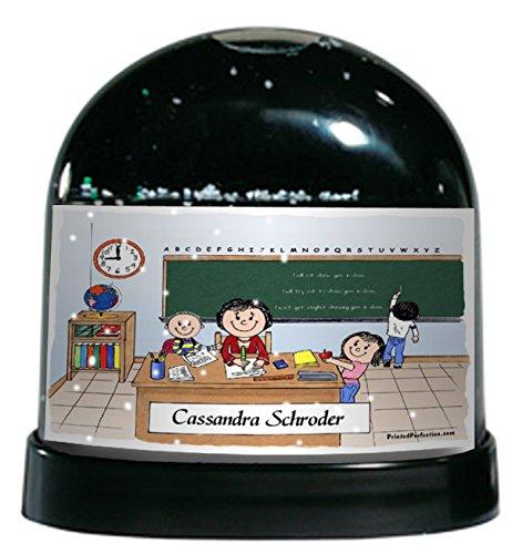 Personalized Friendly Folks Cartoon Caricature Snow Globe Gift: Teacher - Female Great for elementary, intermediate, middle school teacher