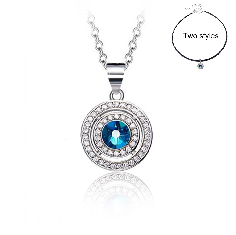 Jewelry for Women Wishing Pendant Black Choker Necklace Swarovski Crystals Jewelry Anniversary Wedding Birthday Gifts for Women Her Mom Girls Wife Daughter Teen 925 Sterling Silver Pendants Necklace