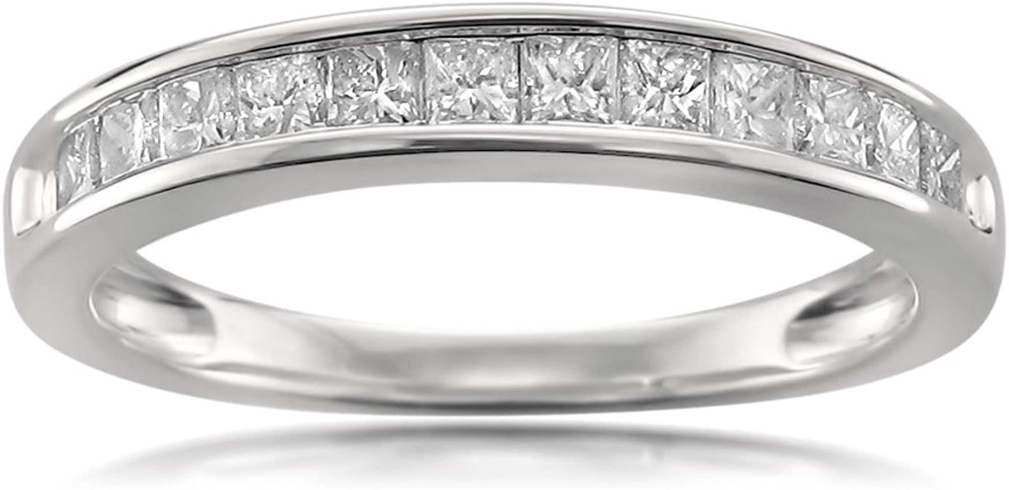 Amazon Com La4ve Diamonds 14k White Gold 12 Stone Princess Cut