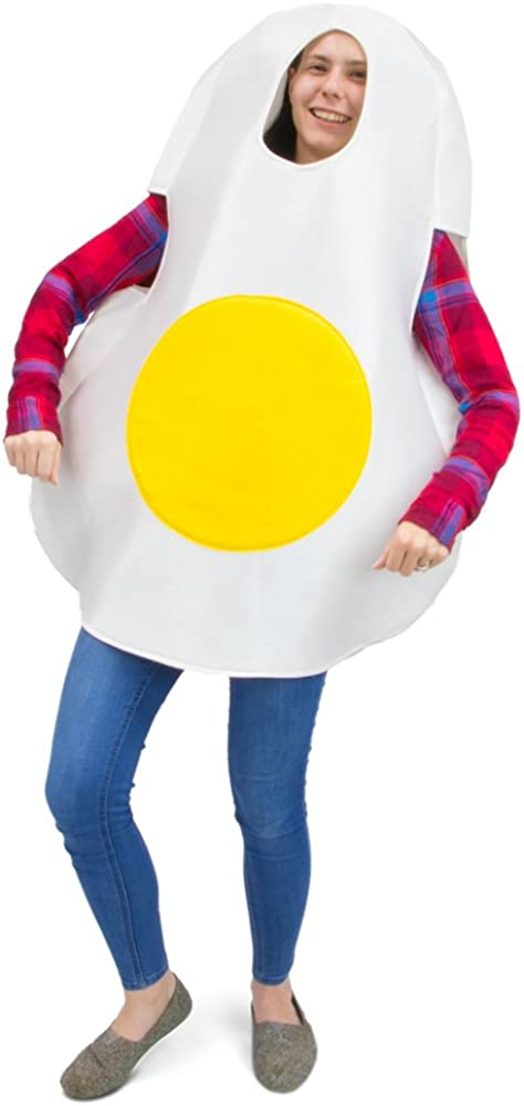 Eggcellent Fried Egg Halloween Costume, Unisex Men & Women Breakfast Food Suit, White, One Size