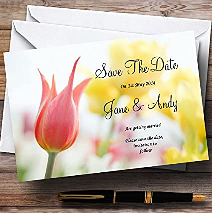 Dainty Pink and Yellow Floral Personalized Wedding Save The Date Cards