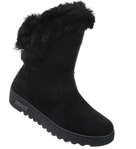 Damen Fellstiefel Winter Stiefeletten Stiefel Schuhe Boots Damenstiefel Winterstiefel, Farbe Schwarz, Gr. 37