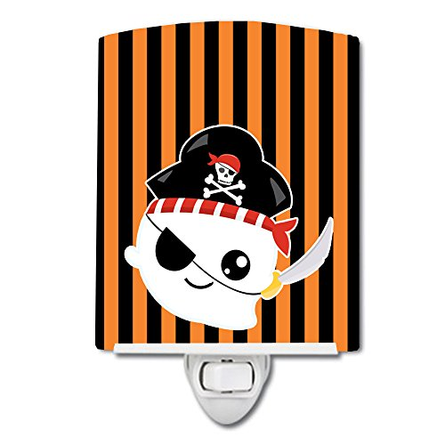 (Caroline's Treasures Halloween Ghost Ceramic Night Light, Pirate, Orange, 6