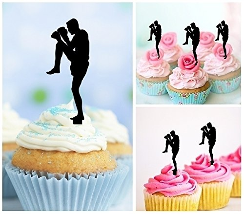 TA0205 Muay Thai Kickboxing Silhouette Party Wedding Birthday Acrylic Cupcake Toppers Decor 10 pcs by jjphonecase