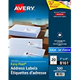 "Avery Address Labels with Easy Peel for Inkjet Printers, 1"" x 4"", White, Rectangle, 500 Labels, Permanent (8161) Made in Canada for The Canadian Market"
