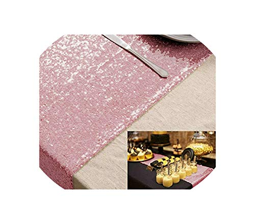 See Something Sequin Table Runner Blush 12x72in for Event/Party/Banquet/Christmas Weddings Decoration,Pink Gold,14inch x 132in ()