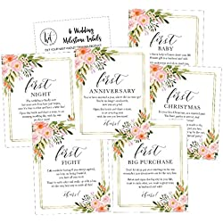 6 Flower Wedding Milestones Gift Wine Bottle Labels or Sticker Covers, Floral Bridal Shower, Bachelorette Engagement Party Present, Perfect Best Registry For Bride To Be, Firsts For The Newlywed Ideas