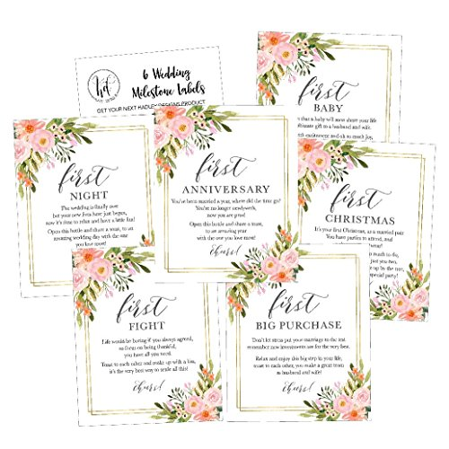6 Flower Wedding Milestones Gift Wine Bottle Labels or Sticker Covers, Floral Bridal Shower, Bachelorette Engagement Party Present, Perfect Best Registry For Bride To Be, Firsts For The Newlywed Ideas by Hadley Designs