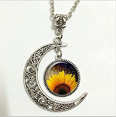 Amazon sunflower pendant botanical necklace flower moon sunflower pendantbotanical necklaceflower moon jewelrymoon necklace glass art picture aloadofball Image collections