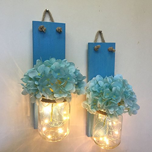 Set of Two Lighted Sconces with Hydrangeas Country Rustic Mason Jar Wall Sconce Hanging Lantern LED Fairy Lights