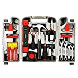 Yuanshikj Precision Tools General 53 Piece Tool Set Homeowner's Kit Toolbox Household Hand Plastic Storage Case Red Color