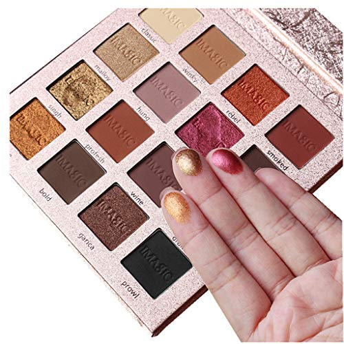 IMAGIC 16 Colors Eyeshadow Palette Matte Shimmer High Pigmented Natural Nude Cosmetic Professional Eye Shadows - De Color Ojos