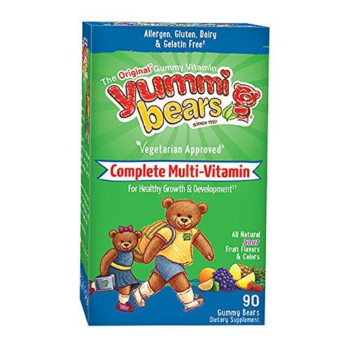 Yummi Bears Vegetarian Multi-Vitamin & Mineral Gummy Vitamin for Kids, 90 Gummy Bears (Nutrition Gummy Bears)
