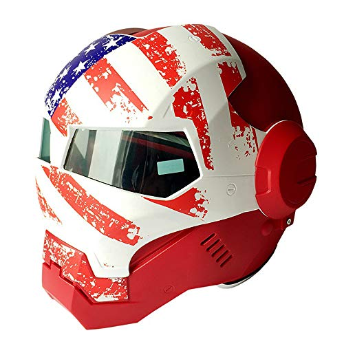 (ZHYY Full Face Locomotive Helmet Motorcycle Motorbike Crash Modular Flip Front D.O.T Certified Road Race Off-Road Competition Iron Man Helmet Red White (M, L, XL, XXL),M)