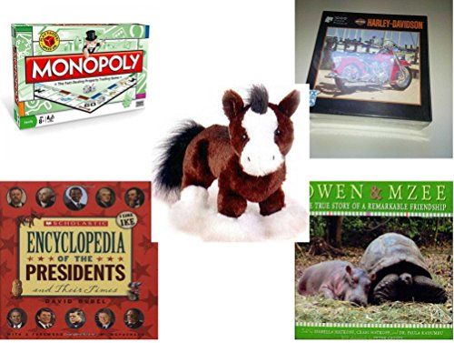 "Children's Gift Bundle - Ages 6-12 [5 Piece] - Monopoly Board Game by Hasbro - Harley-Davidson Red Panacea 1000 Piece Puzzle - Webkinz Clydesdale Horse Plush 9"" - Scholastic Encyclopedia Of The Pres -  Secure-Order-Marketplace, Ent., dbund-6-12-2253"