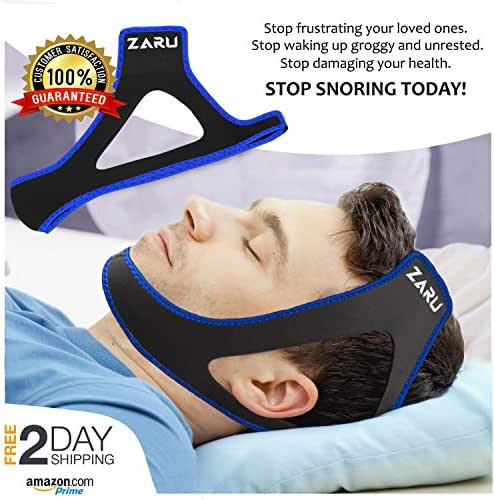 ZARU Premium Anti Snore Chin Strap [2019 Upgraded Version] - Advanced Snoring Solution Scientifically Designed to Stop Snoring Naturally and Give You The Best Sleep of Your Life (Black)