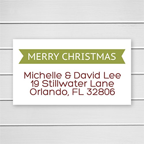 40ct - Merry Christmas Return Address Labels, Christmas Return Address Stickers, Holiday Address Stickers ()