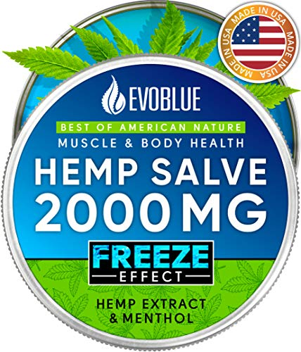 Premium Hemp Salve - Strong Freeze Pain Relief - Made in USA - 2000mg Hemp Cream - Arnica and Menthol - Relieves Inflammation, Muscle, Joint, Back, Knee and Arthritis Pain